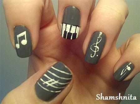 Grey music nail art