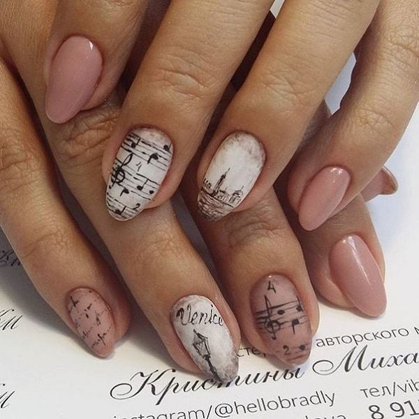 vintage music nails for women