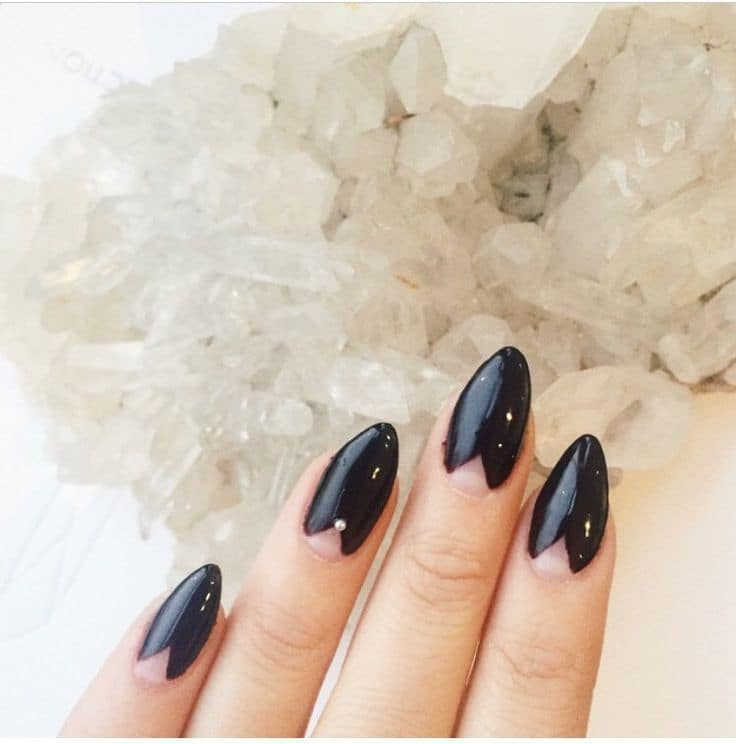 Black pointy Nail Color