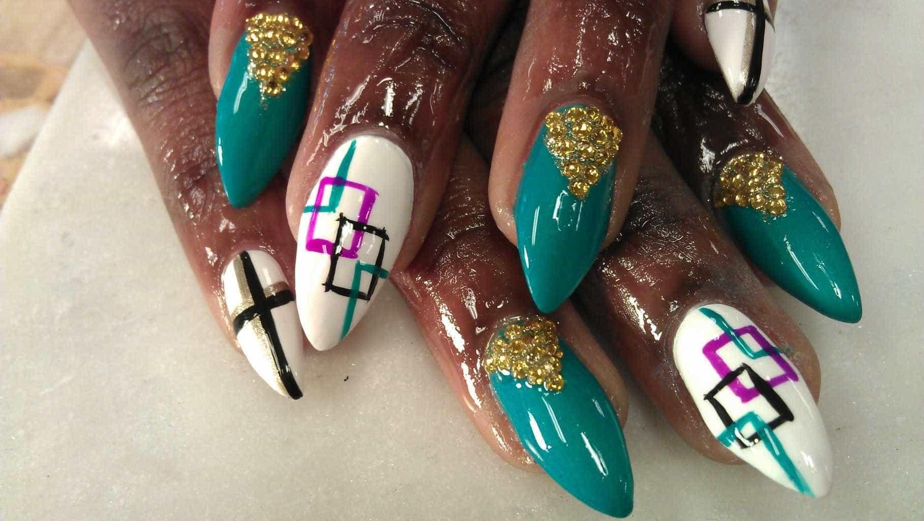 Multicolor Line Nail Design