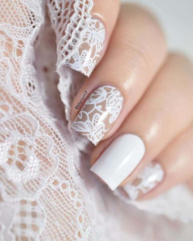 white lace nail design - 20 Sparkling Lace Nail Designs To Shine – NailDesignCode
