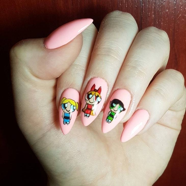womens pink Almond Nail art