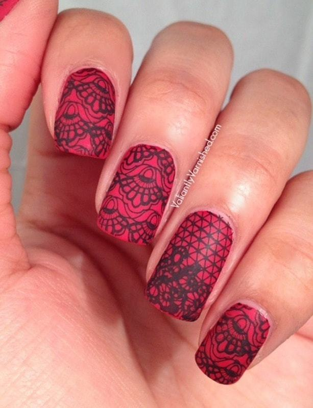 Mad Red lace nail art for girl