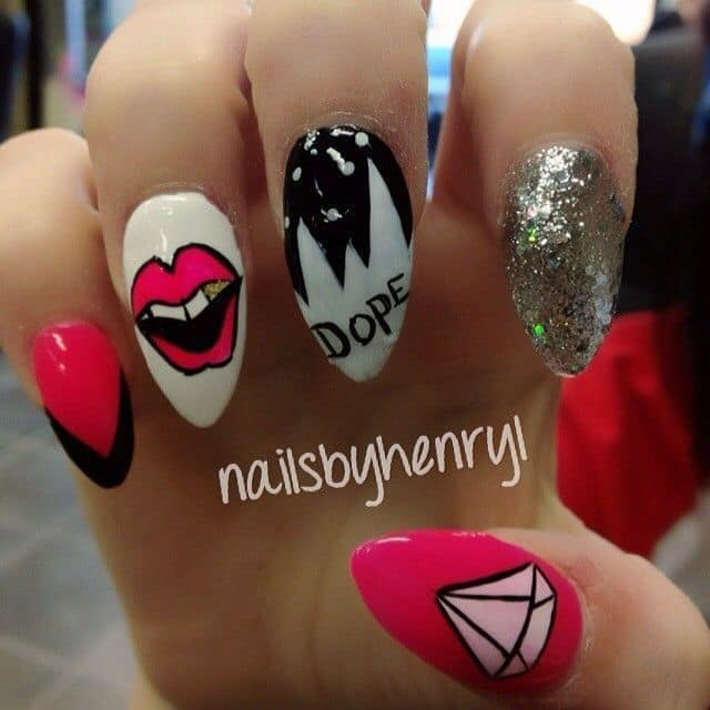 20 epic dope nail designs for trendy women naildesigncode when you are out of ideas write on them the word dope is spelled out on these nails so it doesnt get more obvious than this when you are not into those prinsesfo Images
