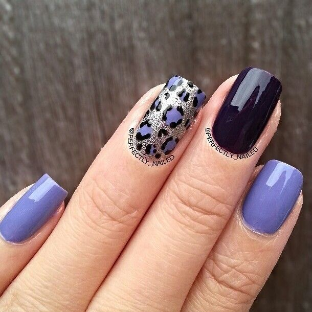 Leopard design Squoval nails