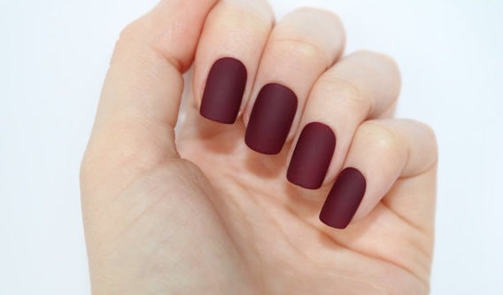 short Burgundy Nail design