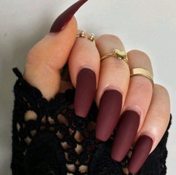 Mate color Burgundy Nail idea