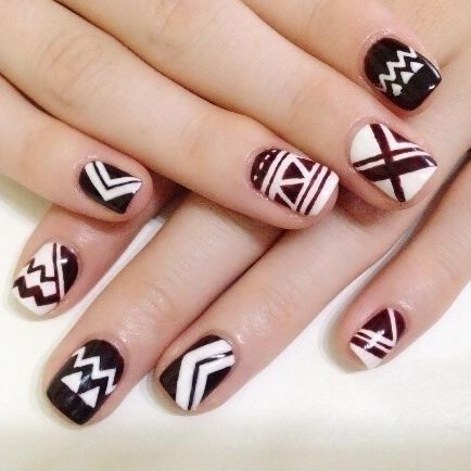 nice Burgundy Nail design for girl