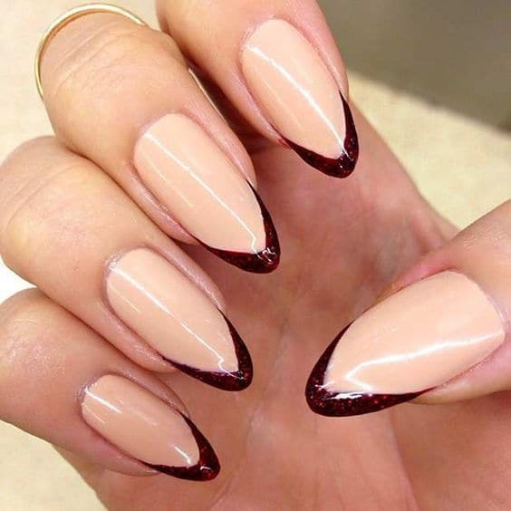 French burgundy nail art