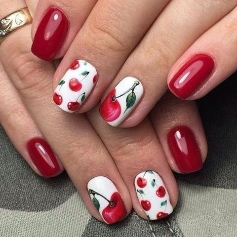 Cherry design Burgundy nail
