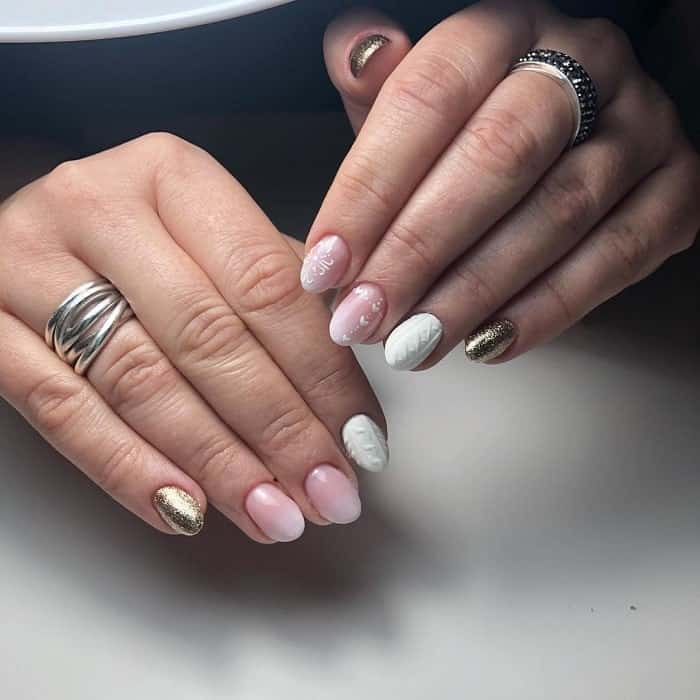 Simple Pink White And Gold Nails