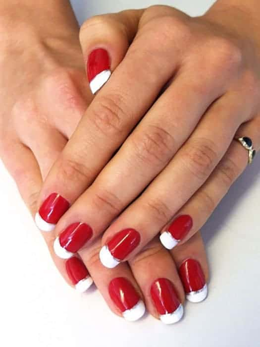 White Tips on Red Nails