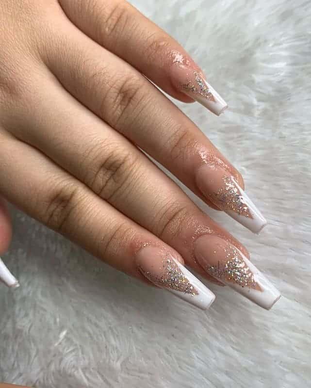Sparkly White Tip Nail Art