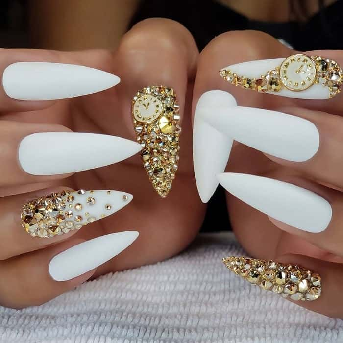 White And Gold Nails With Rhinestones