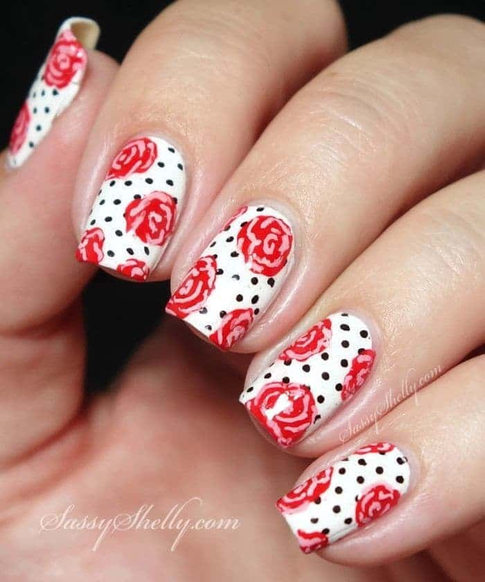 Funky Rose Nail Design you love