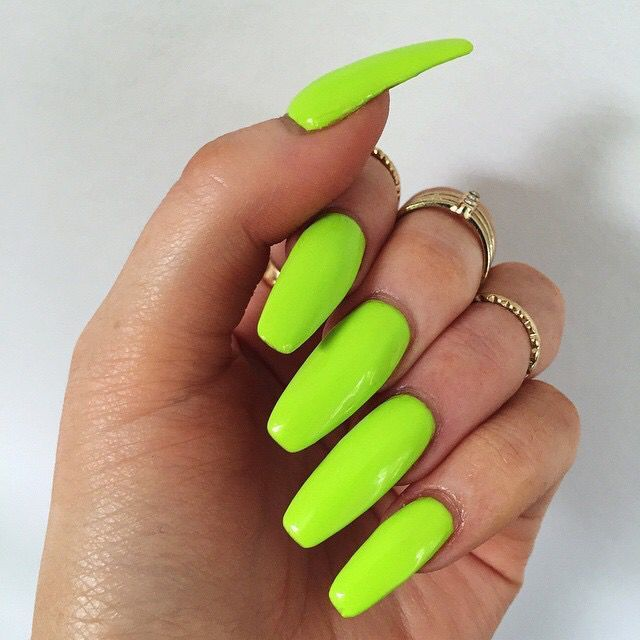 Lime Green Nail Idea For Party Women