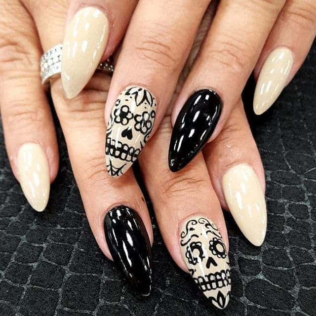 long and pretty Skull Nail art for girl
