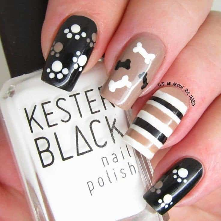 Black color dog nail design