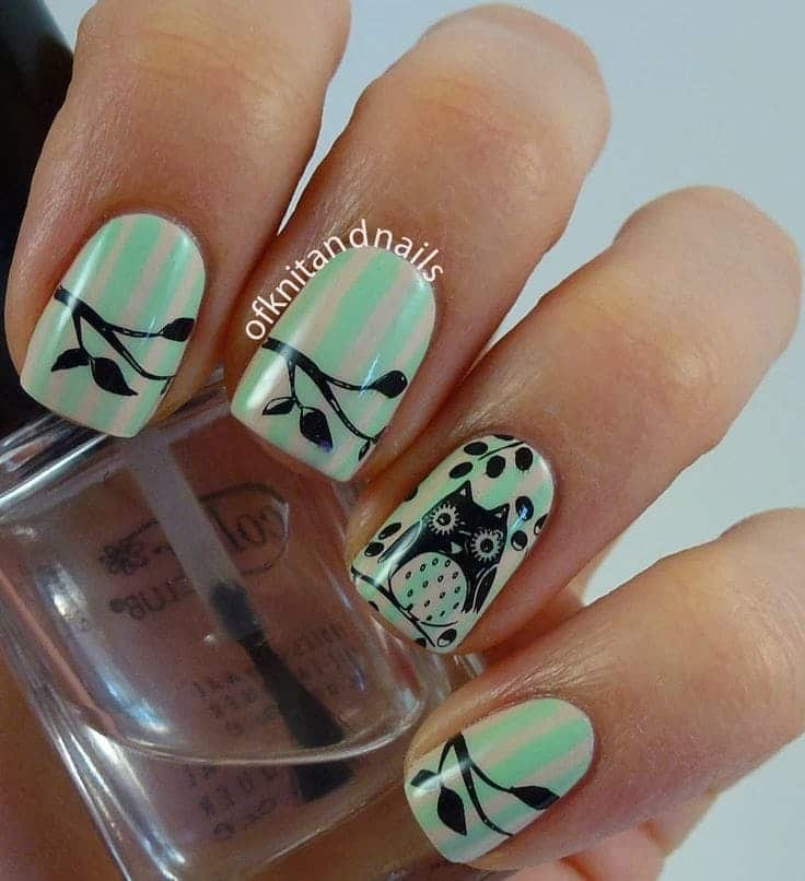 little grumpy with owl nail design