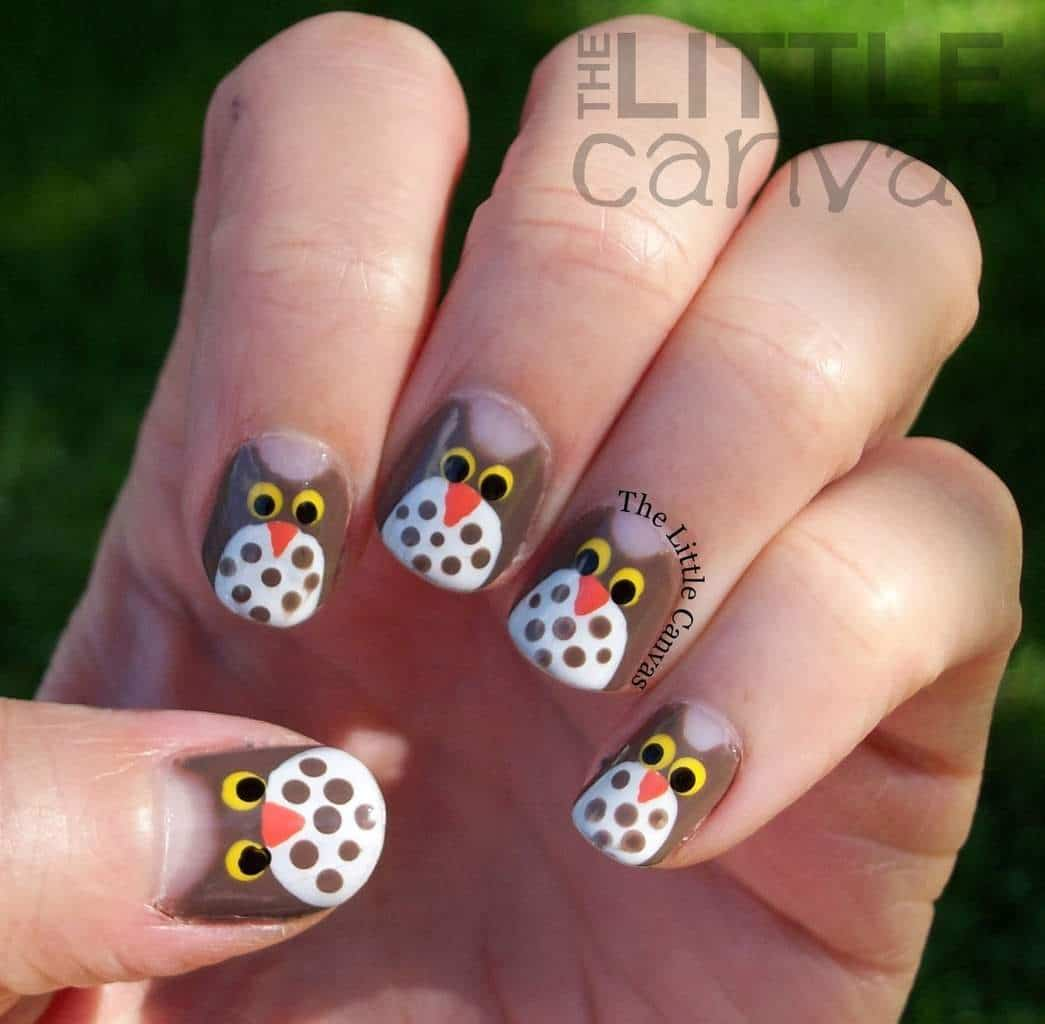Little funny owl nail design