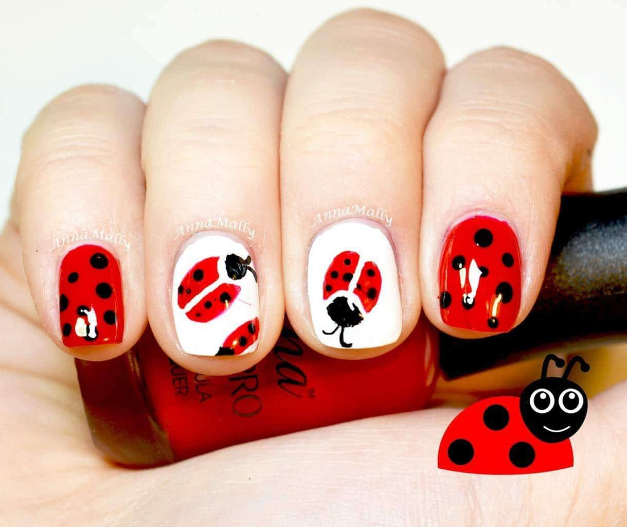 Red color nail with animal print