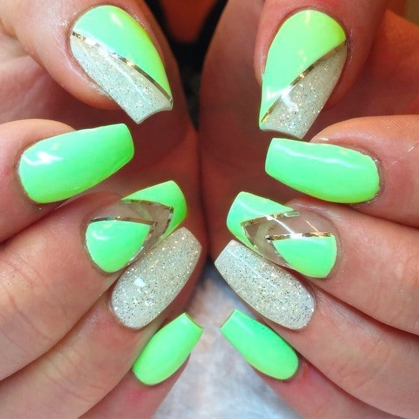 Square lime green nail