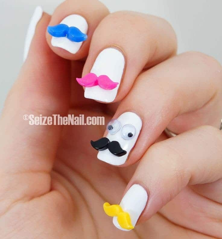 cute Mustache with Funky Nail Design