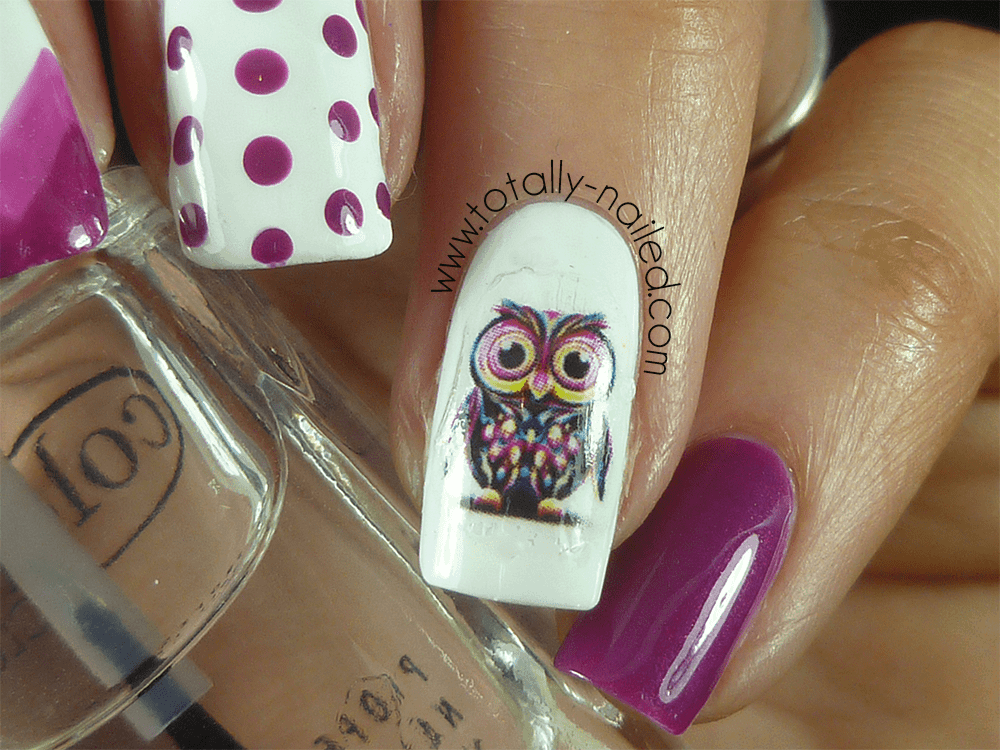 Real Art owl nail idea for girl