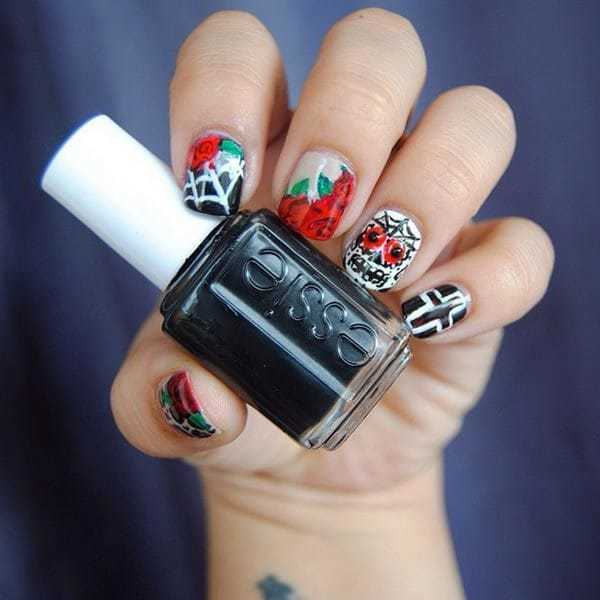 Rose with Skull Nail design
