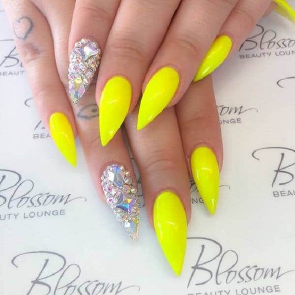 Yellow color classic nexgen nail design - 20 Ravishing NexGen Nails To Upscale Your Style – NailDesignCode