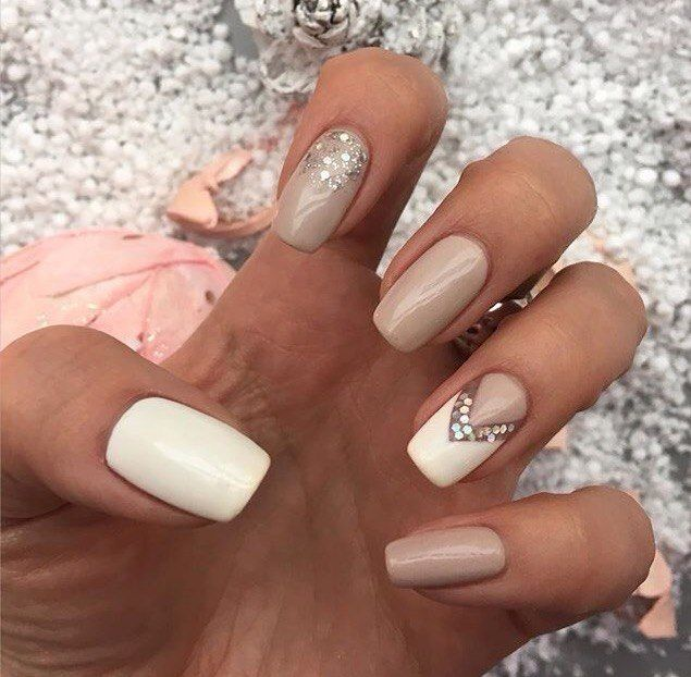 Cute Chic Beige Nail Design for girl