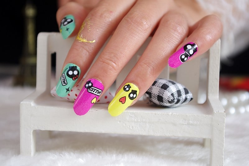 Colorful Skull Nail idea for girl
