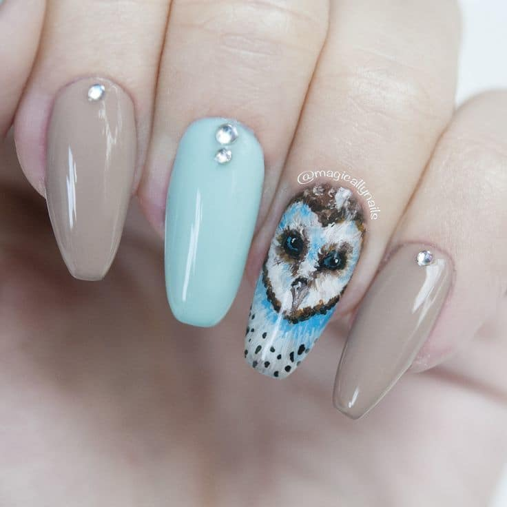 20 Irresistible Owl Nail Designs You Will Cherish