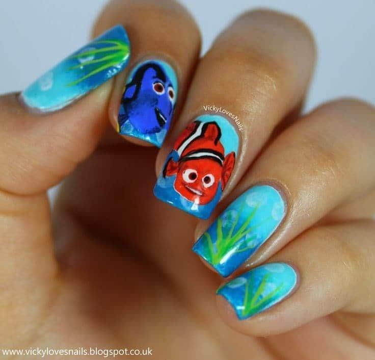 animal print nail design with nemo
