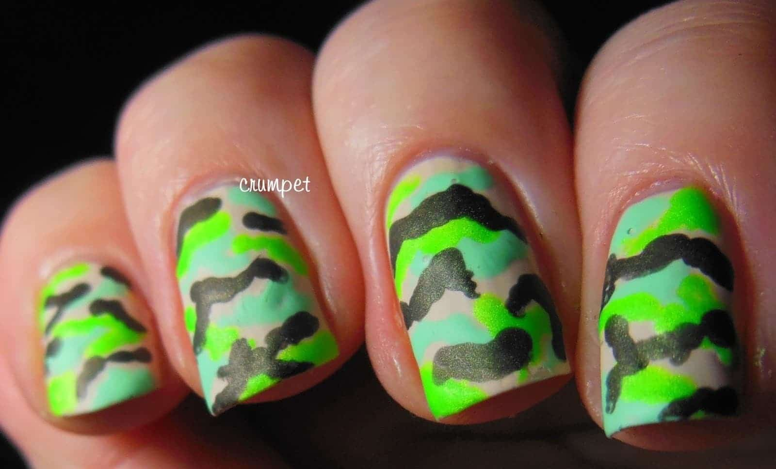 Army lime green nail design
