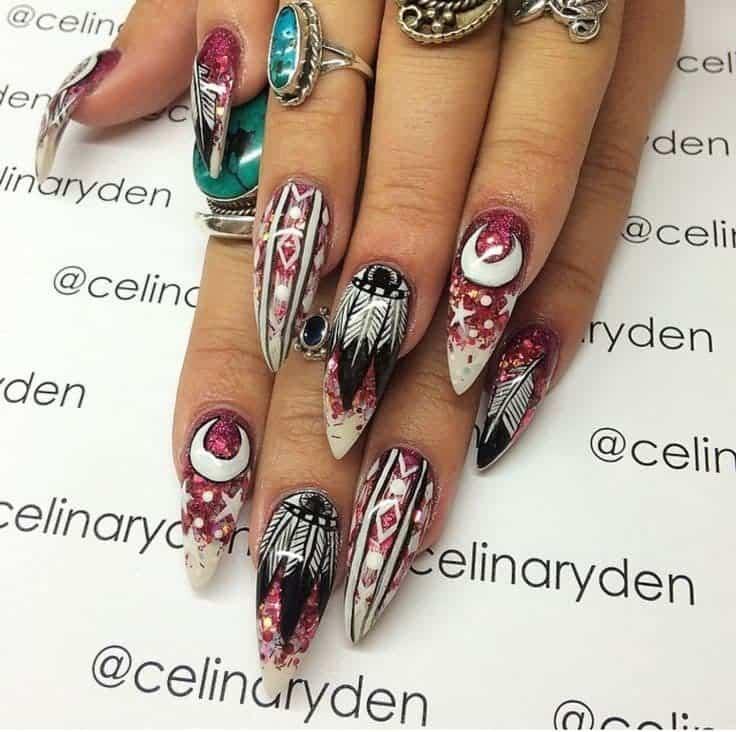 Pink Hippie Nail Design