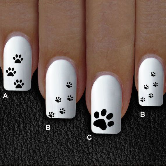 white little dog paw nail design