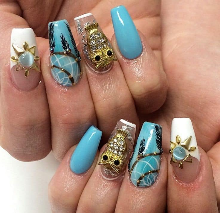 Acrylic owl nail design for girl