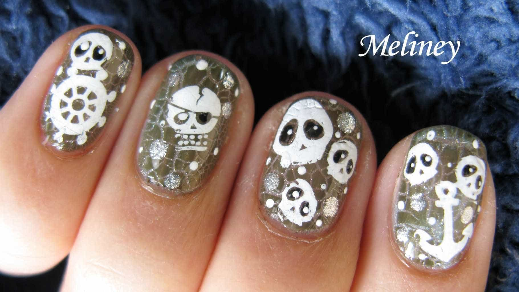 cute Miniature with Skull Nail design
