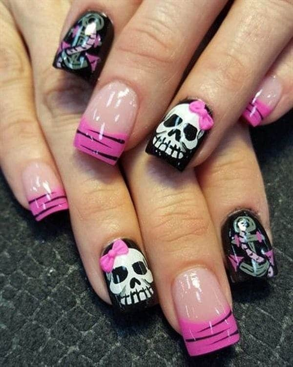 Emo design Skull Nail art - 20 Hottest Skull Nail Designs To Put You On Center Stage
