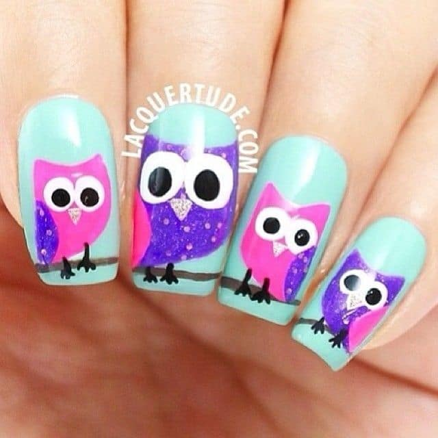young girl favorite owl nail design