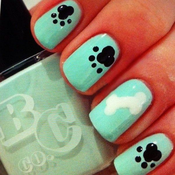 Mint and black Dog nail design