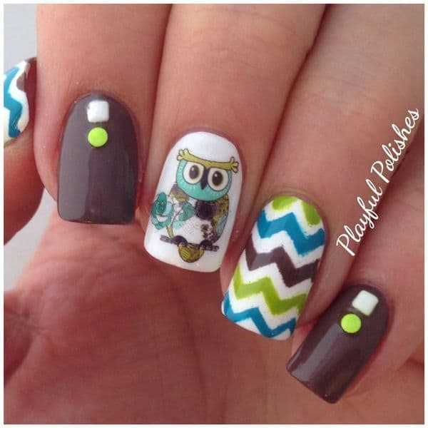 Brown Chill owl nail design