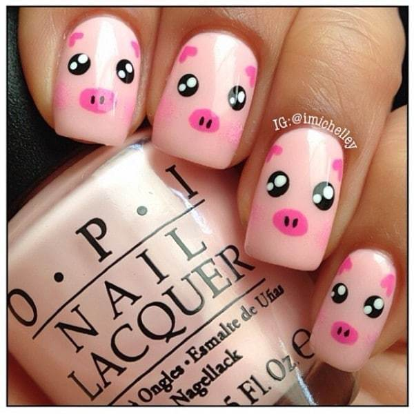 Little Piggy design Animal Print Nail