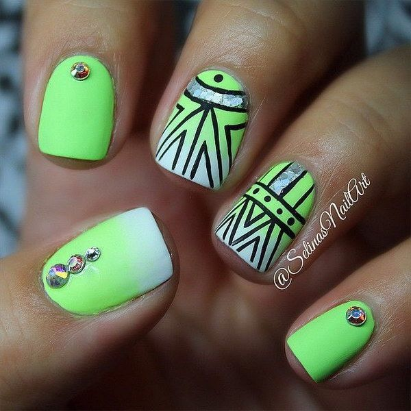 Lime Green Tribal Nails