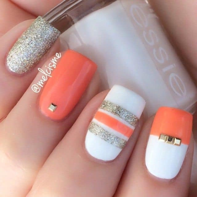 Sparkle Peach Nail Design