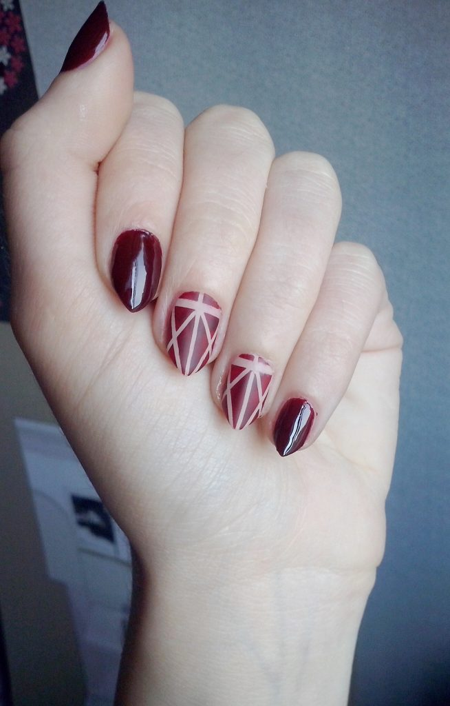 These Almond Nails Look Beautiful In Maroon Colors Ociated With Diffe Patterns Use Radiant Color On The Base Then Create By