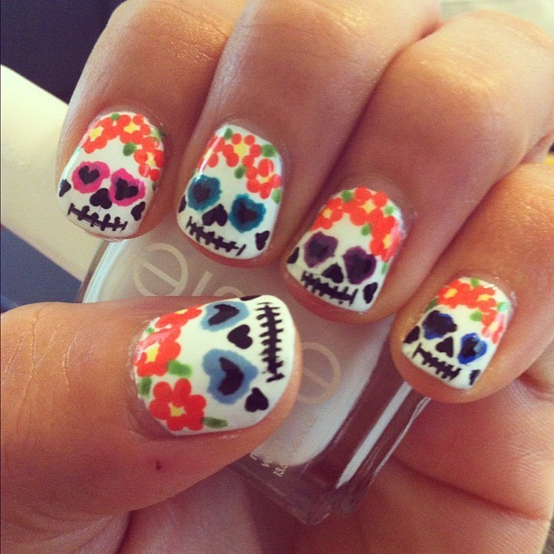 Hippie Skull Nail design for girl