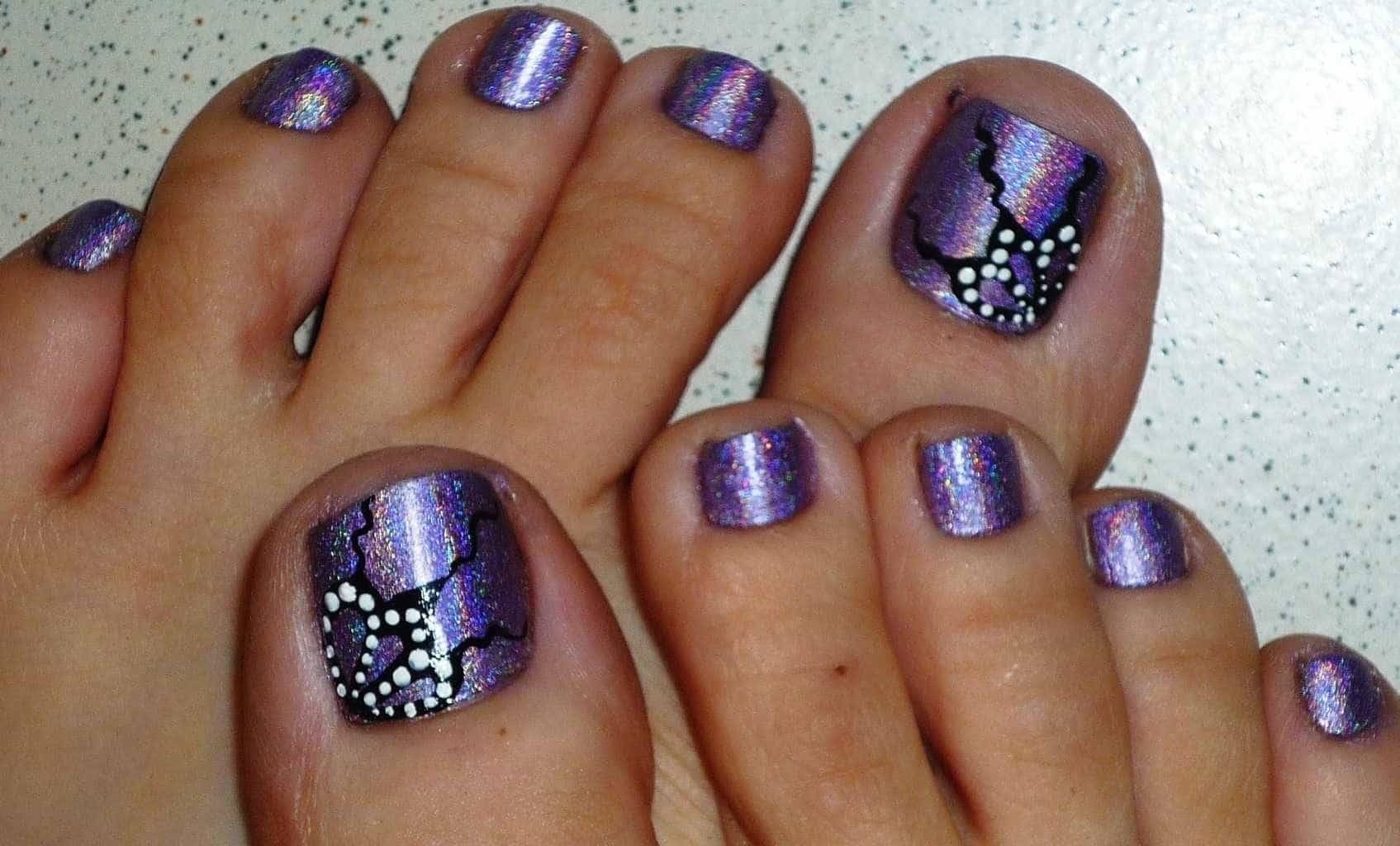 Purple Pedicure Nail Design