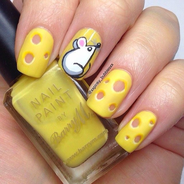Cheese with Mouse Animal Print Nail